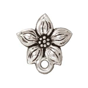"TierraCast Silver Plated Pewter Stud Post Earrings ""Star Jasmine"" 13mm (1 Pair)"