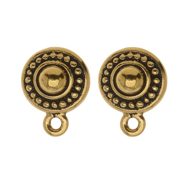 TierraCast 22K Gold Plated Pewter Stud Post Earrings Beaded Round 11mm (1 Pair)