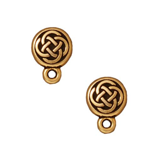 TierraCast 22k Gold Plated Pewter Stud Post Earrings Celtic Circle 11mm (1 Pair)