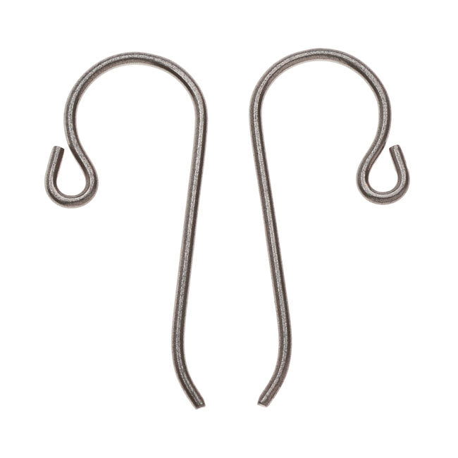 TierraCast Earring Hooks, Hypo-Allergenic Niobium with Loop 21mm, 4 Pieces, Grey