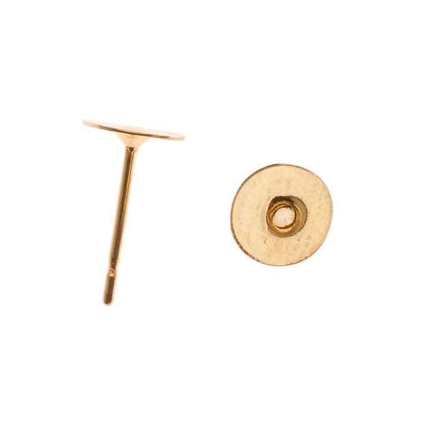 Gold Plated Flat 6mm Glue On Earring Posts (10 Pairs)