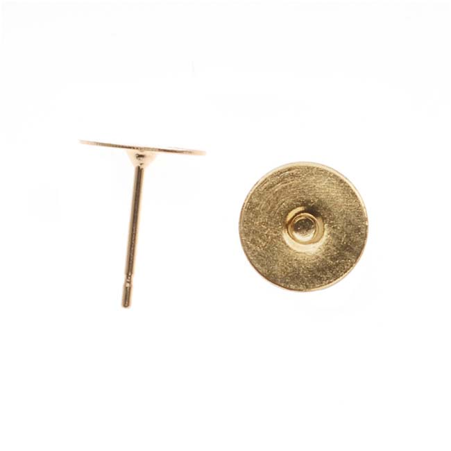 Gold Plated Flat 8mm Glue On Earring Posts (10 Pairs)