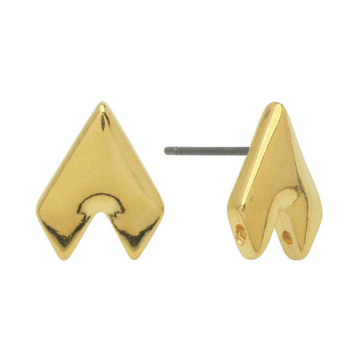 Cymbal Earring Posts for GemDuo Beads, Provatas II, Half-Diamond 13x10mm, Half-Diamond , 1 Pair, 24k Gold Plated