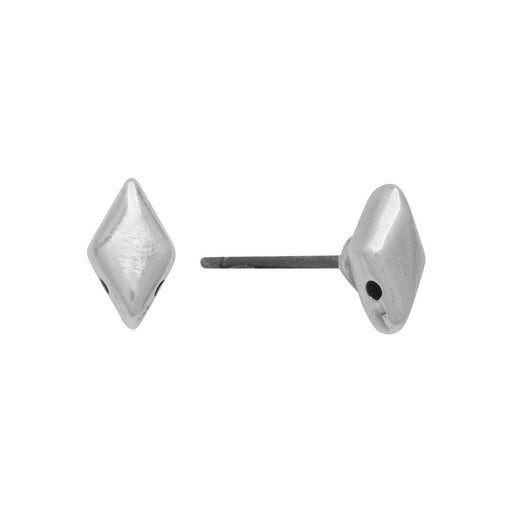 Cymbal Earring Posts for GemDuo Beads, Provatas, Diamond 8x5mm, 1 Pair, Antiqued Silver Plated
