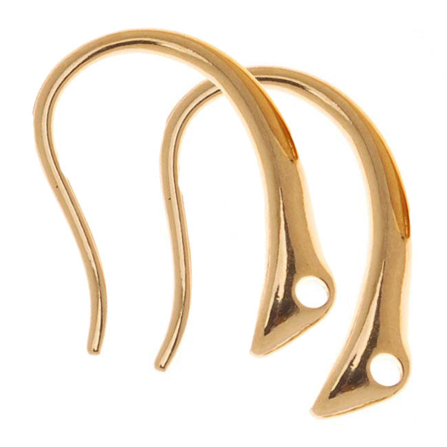 Gold Plated Sleek Tapered Round Earring Hooks 13.5x9.5mm (10)