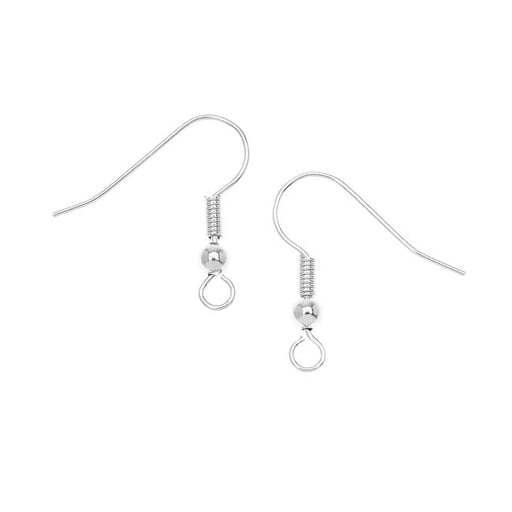 Earring Findings, Hook with Ball & Coil 18mm Long 23 Gauge, 10 Pairs, Silver Plated