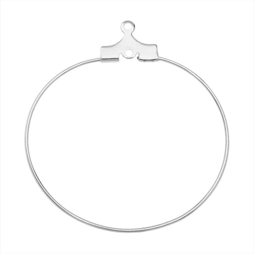 Beadable Open Wire Frame for Earrings or Pendants, Hoop 35mm, 6 Pairs, Silver Plated