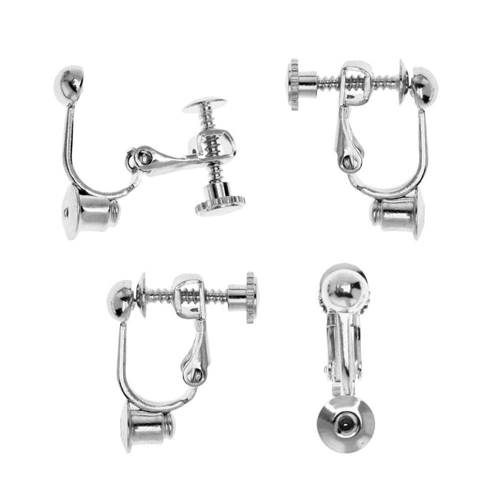 Earring Findings, Post to Clip on Converter with Screw Back 17x14mm, 2 Pairs, Silver Plated