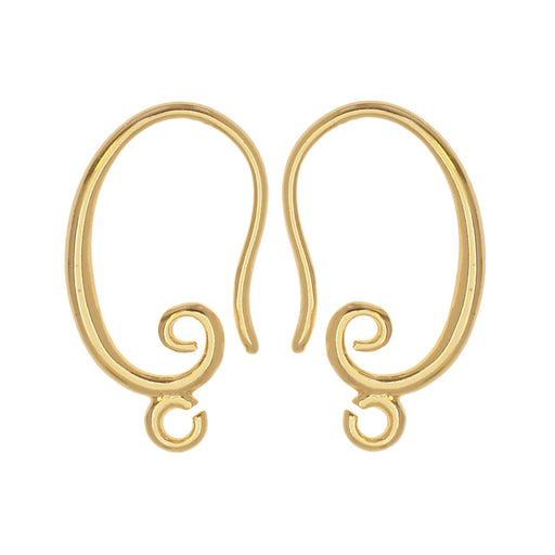 Earring Findings, Earwire Hooks with Loop 19.5mm, 2 Pairs, Gold Tone