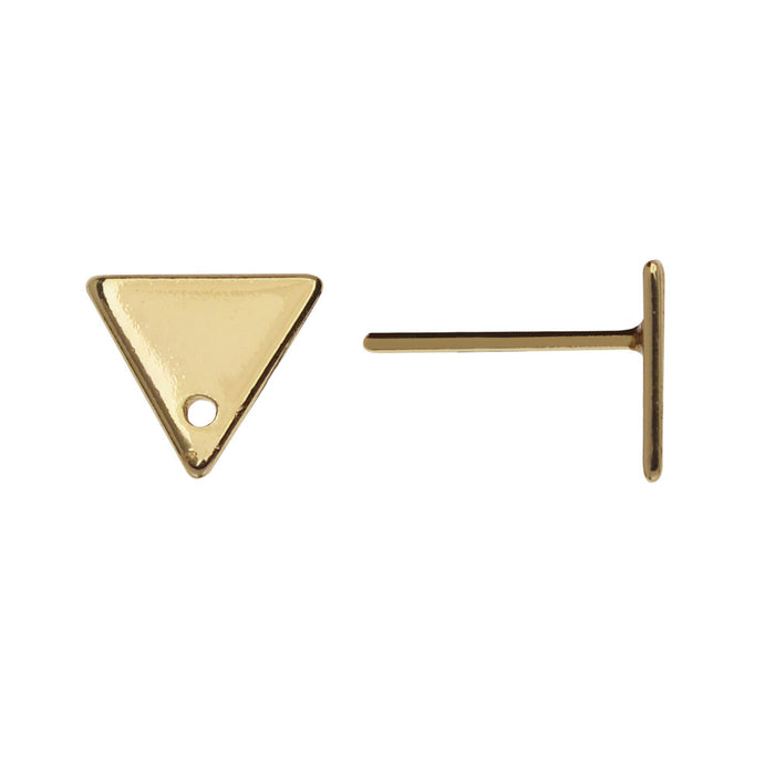 Earring Post, Triangle with Hole 7x8mm, 2 Pairs, Gold Plated