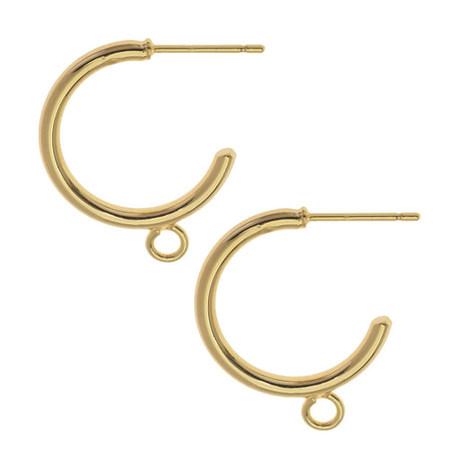 Earring Post, Hoop with Loop 23mm, 2 Pairs, Gold Plated