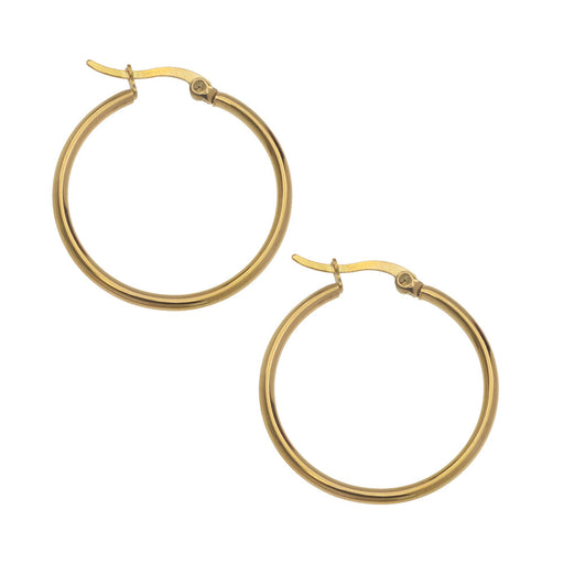 Earrings Findings, Hoop 32mm, 2 Pairs, Gold Plated