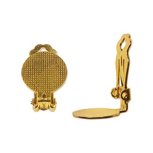 22K Gold Plated Clip On Earring Findings W/ 15mm Pad For Gluing (3 Pairs)