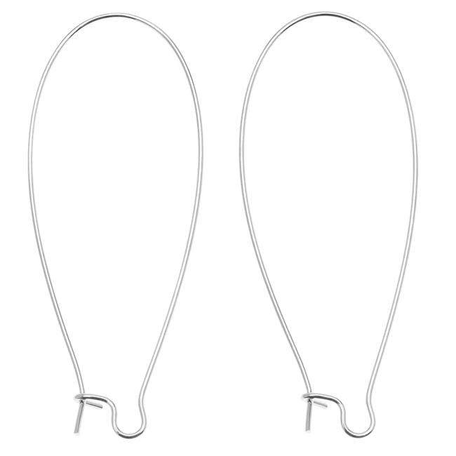 Silver Plated Earring Hooks Kidney Wires 47mm (10 Pairs)