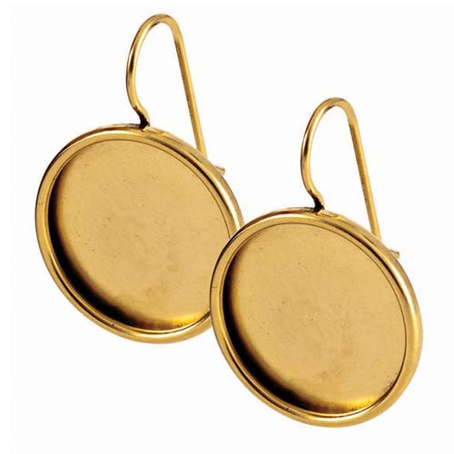 Nunn Design Antiqued 24kt Gold Plated 18mm Bezel Lg Round Earrings 1 Pair