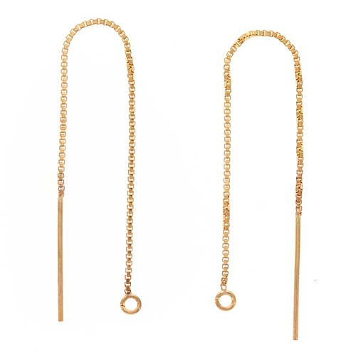 14K Gold Filled Ear Threads Threaders 3 1/4 In. Box Chain w/ Loop, 1 Pair
