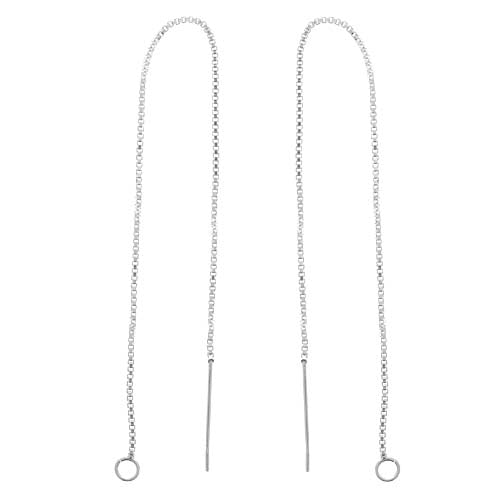 Sterling Silver Ear Threads Threaders 5 Inch Box Chain with Loop (1 Pair)
