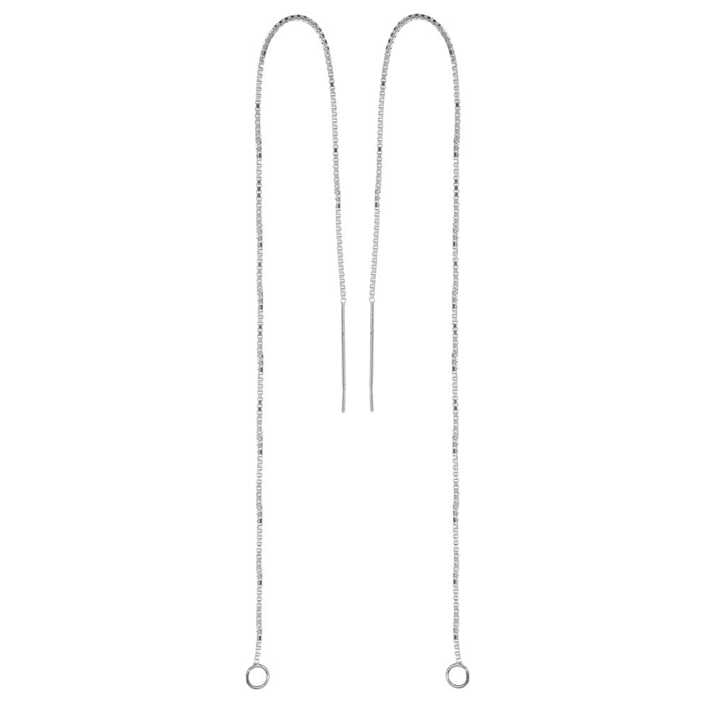 Sterling Silver Ear Threads Threaders 6 Inch Box Chain with Loop (1 Pair)