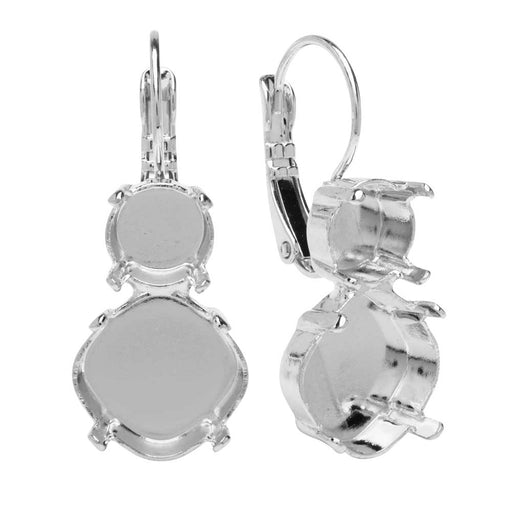 Swarovski Crystal Jewelry Setting ,Tilt Square Earrings,SS39 Chaton,12mm Cushion Stone, Rhodium