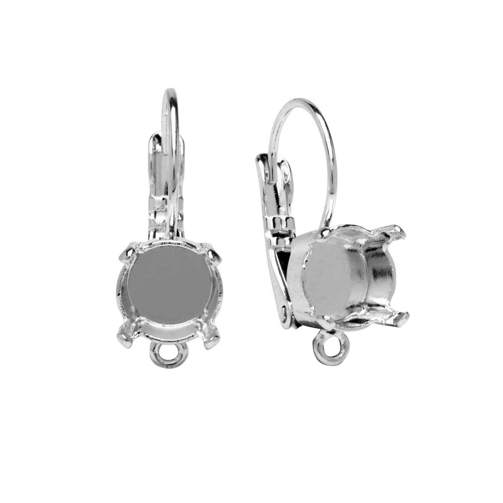 Gita Jewelry Setting for Swarovski Crystal, Leverback Earrings w/Loop for SS39 Chaton, Rhodium Plt