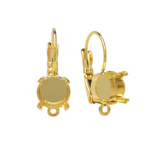 Gita Jewelry Setting for Swarovski Crystal, Leverback Earrings w Loop, for SS39 Chaton, Gold Plated