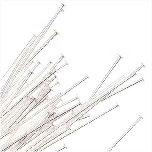 Silver Plated Head Pins - 22 Gauge 3 Inches (25)