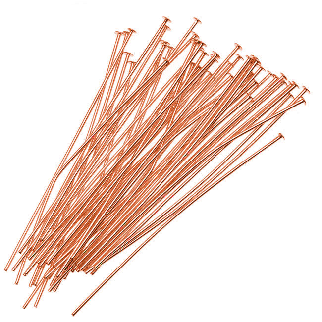 Head Pins, 3 Inches Long and 22 Gauge Thick, 25 Pieces, Copper
