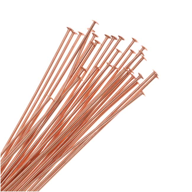 Head Pins, 2 Inches Long and 22 Gauge Thick, 50 Pieces, Copper