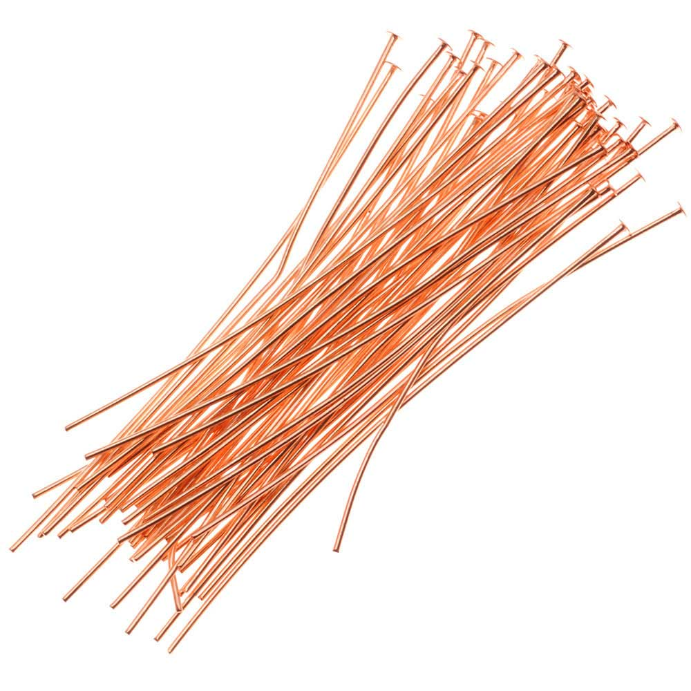 Head Pins, 1.5 Inches Long and 24 Gauge Thick, 50 Pieces, Copper