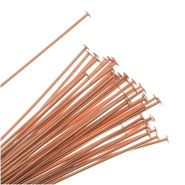 Head Pins, 1.5 Inches Long and 22 Gauge Thick, 50 Pieces, Copper