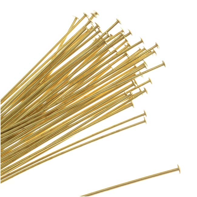 Head Pins, 1.5 Inches Long and 24 Gauge Thick, 50 Pieces, Gold Tone Brass