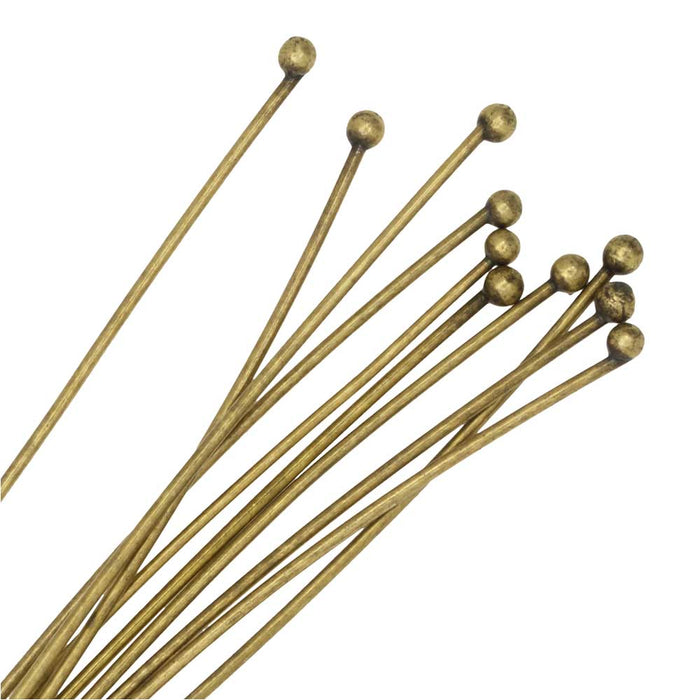 Nunn Design Head Pin, with Ball Head 2 Inches Long and 20 Gauge Thick, 10 Pieces, Antiqued Gold