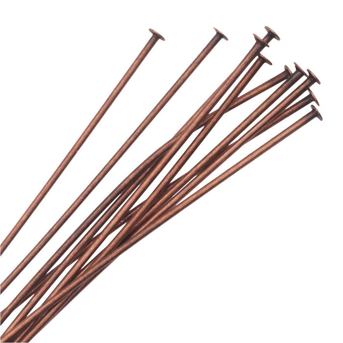 Nunn Design Head Pin 2 Inches Long and 20 Gauge Thick Antiqued Copper 10 Pieces