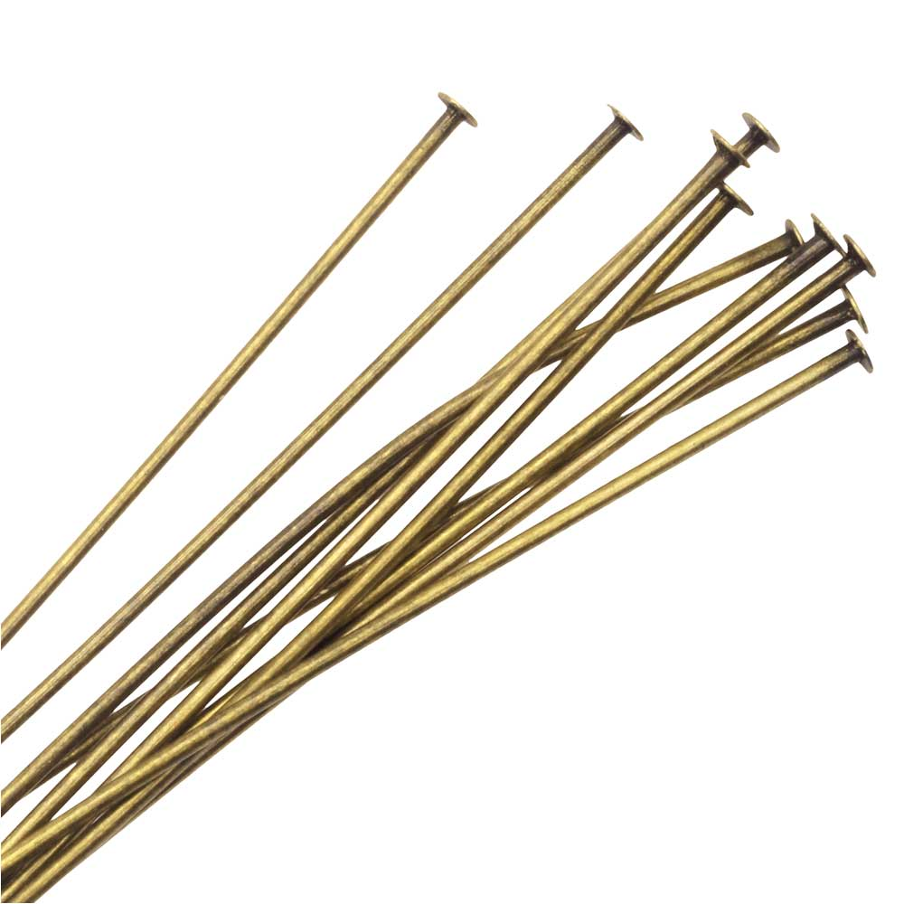 Nunn Design Head Pin, 2 Inches Long and 20 Gauge Thick, 10 Pieces, Antiqued Gold