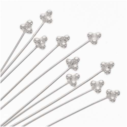 Sterling Silver Head Pins 24 Gauge 2 Inches 20 Pins from CraftWire