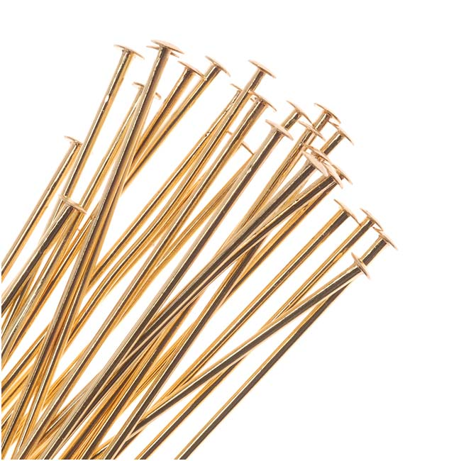 22K Gold Plated Head Pins - 22 Gauge/1 Inch (50)