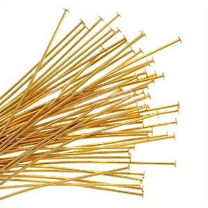 22K Gold Plated Head Pins - 21 Gauge - 1.5 Inches  (x50)