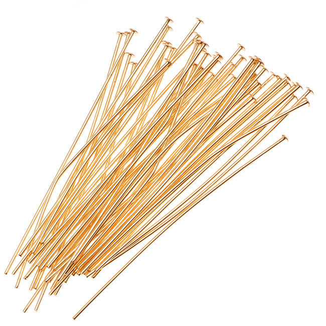 22K Gold Plated Head Pins - 21 Gauge - 2 Inches  (50)