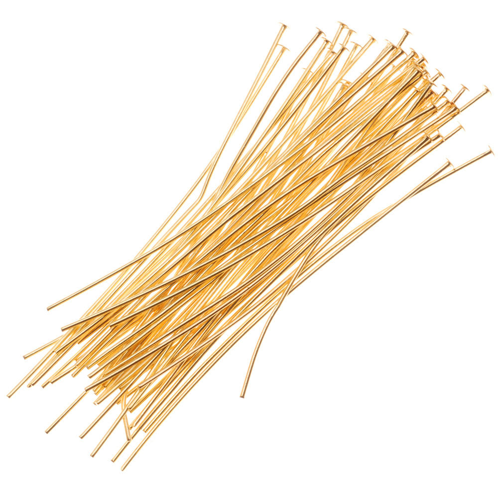 22K Gold Plated Head Pins - 22 Gauge, 2 Inches (X50)
