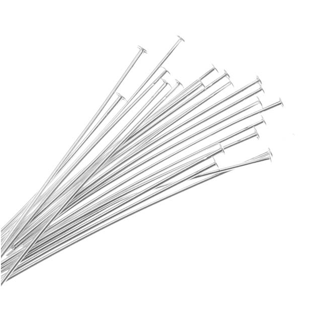 Silver Plated Head Pins 1.5 Inches Long 22 Gauge Thick (50 Pieces)