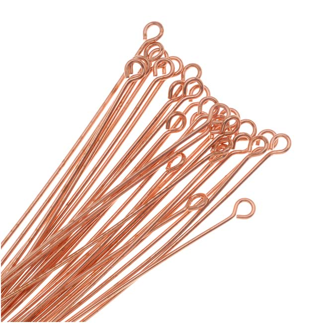 Open Eye Pins, 2 Inches Long and 22 Gauge Thick, 50 Pieces, Copper