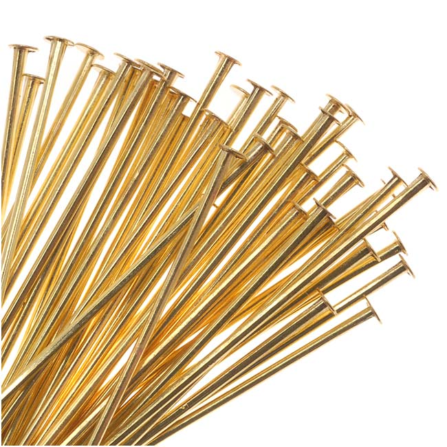 Solid Brass Head Pins 2 Inches Long 21 Gauge (50)