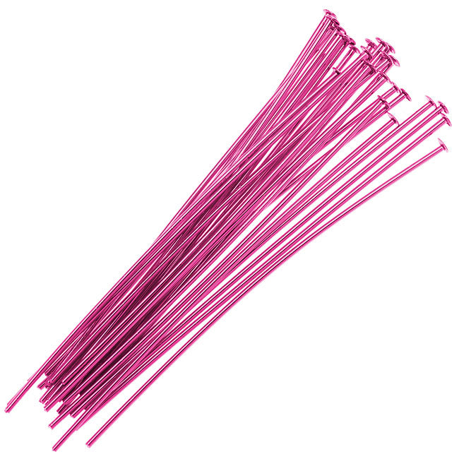 Fuchsia Pink Color Brass  - Head Pins 2 Inch 21 Gauge (25)