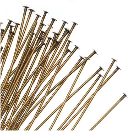 Antiqued Brass Head Pins - 22 Gauge 2 Inches (50)