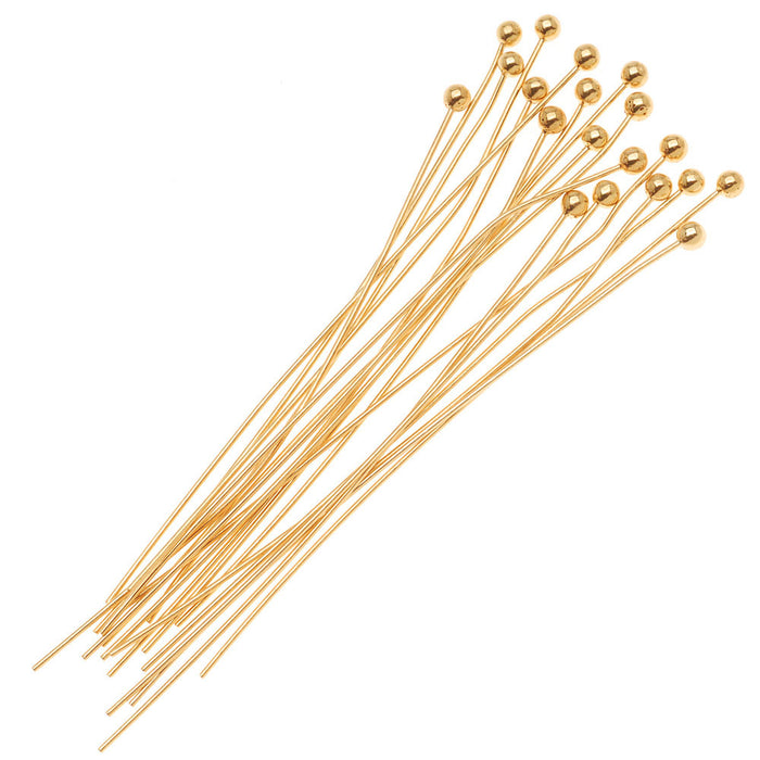22K Gold Plated 2mm Ball Head Pins 21 Gauge 1.5 Inch (100)