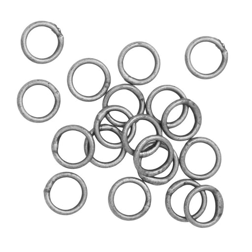 Jump Rings, Closed 5mm Diameter 21 Gauge, 20 Pieces, Antiqued Silver Plated