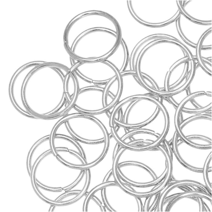 Jump Rings, Closed 8mm Diameter 18 Gauge, 20 Pieces, Silver Plated