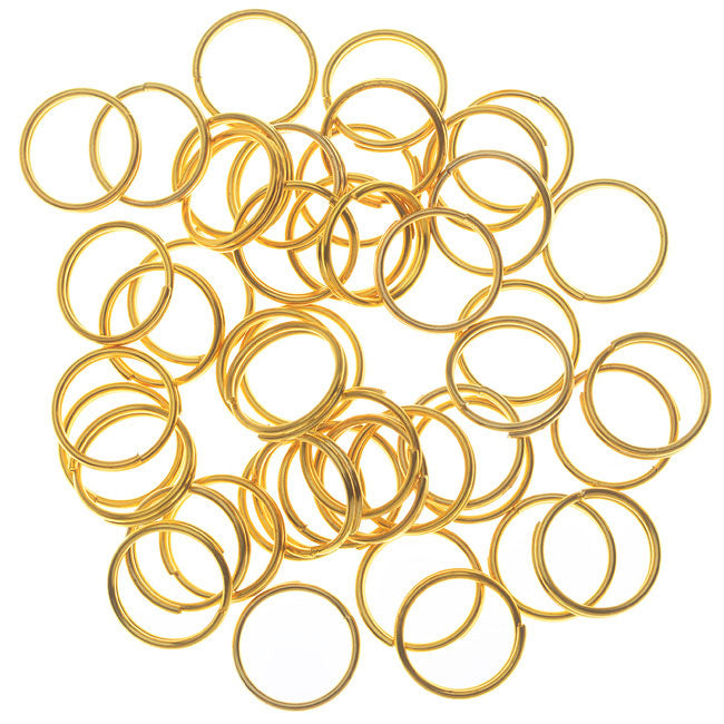 Split Rings, 8mm Diameter 23 Gauge Wire, 50 Pieces, Gold Plated