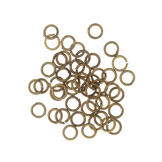 Open Jump Rings, 4mm Diameter 22 Gauge Thick, 50 Pieces, Antiqued Brass
