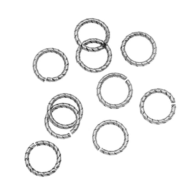 Nunn Design Antiqued Silver Plated Open Jump Rings Twist 8.5mm 17 Gauge (10)